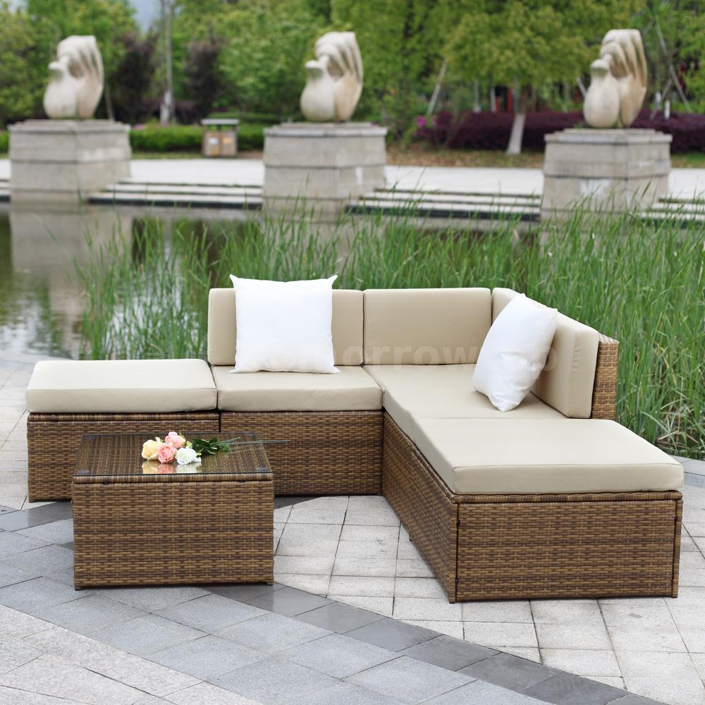 Ikayaa 6pcs Rattan Outdoor Corner Couch Sofa Set Patio