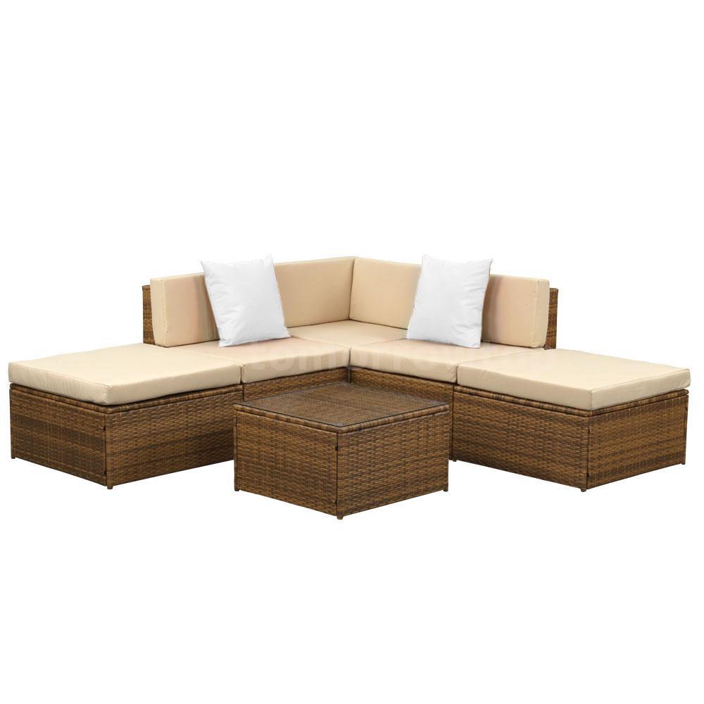 Rattan Furniture Corner Sofa Ebay: IKAYAA 6PCS Rattan Outdoor Corner Couch Sofa Set Patio