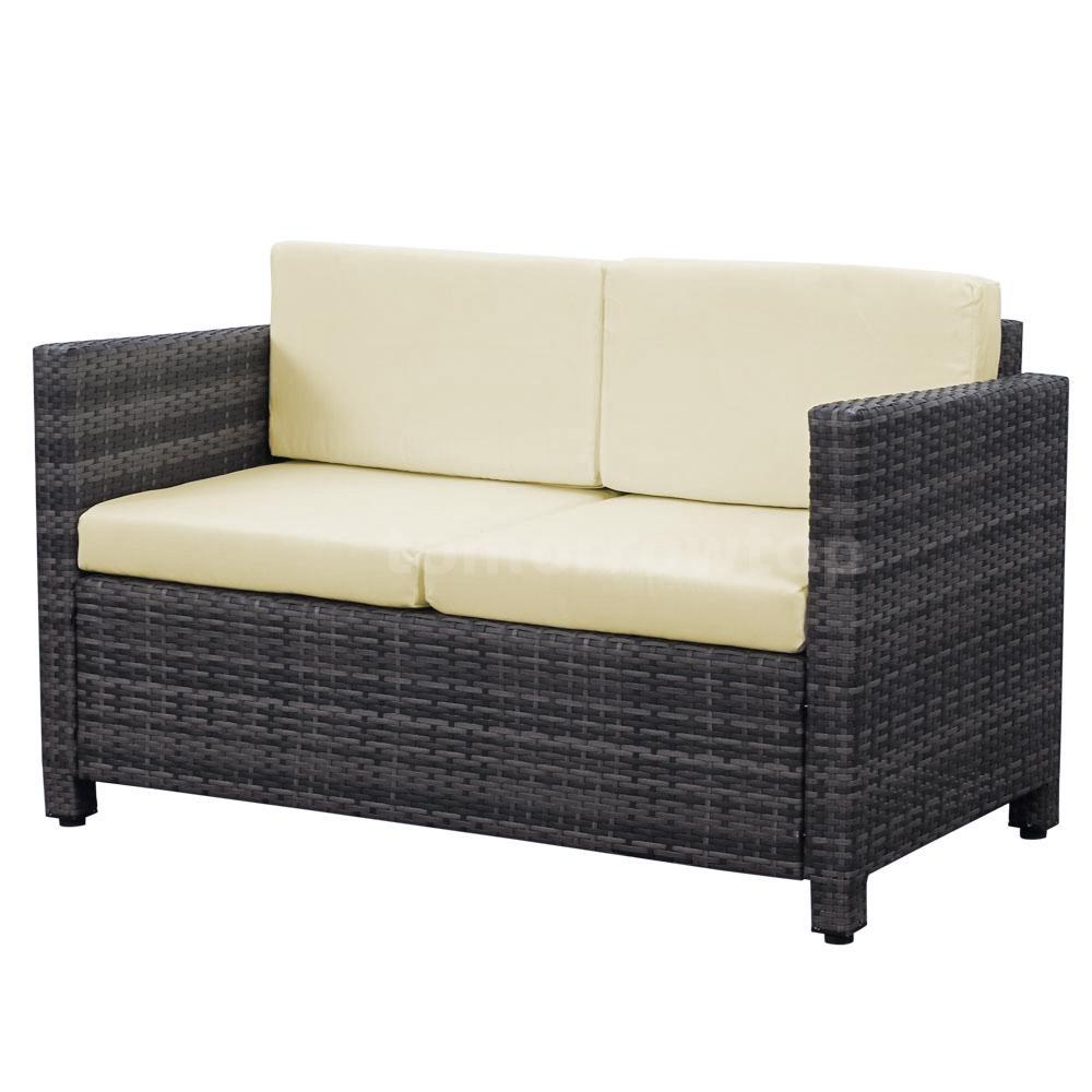4pcs lounge set sofa gartenm bel sitzgruppe tisch beige kissen rattan f7v9 ebay. Black Bedroom Furniture Sets. Home Design Ideas