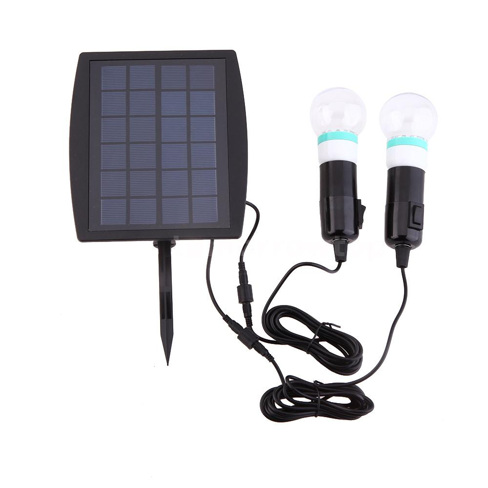 Outdoor Solar Power Led Lighting 2 Bulb Lamp System Solar