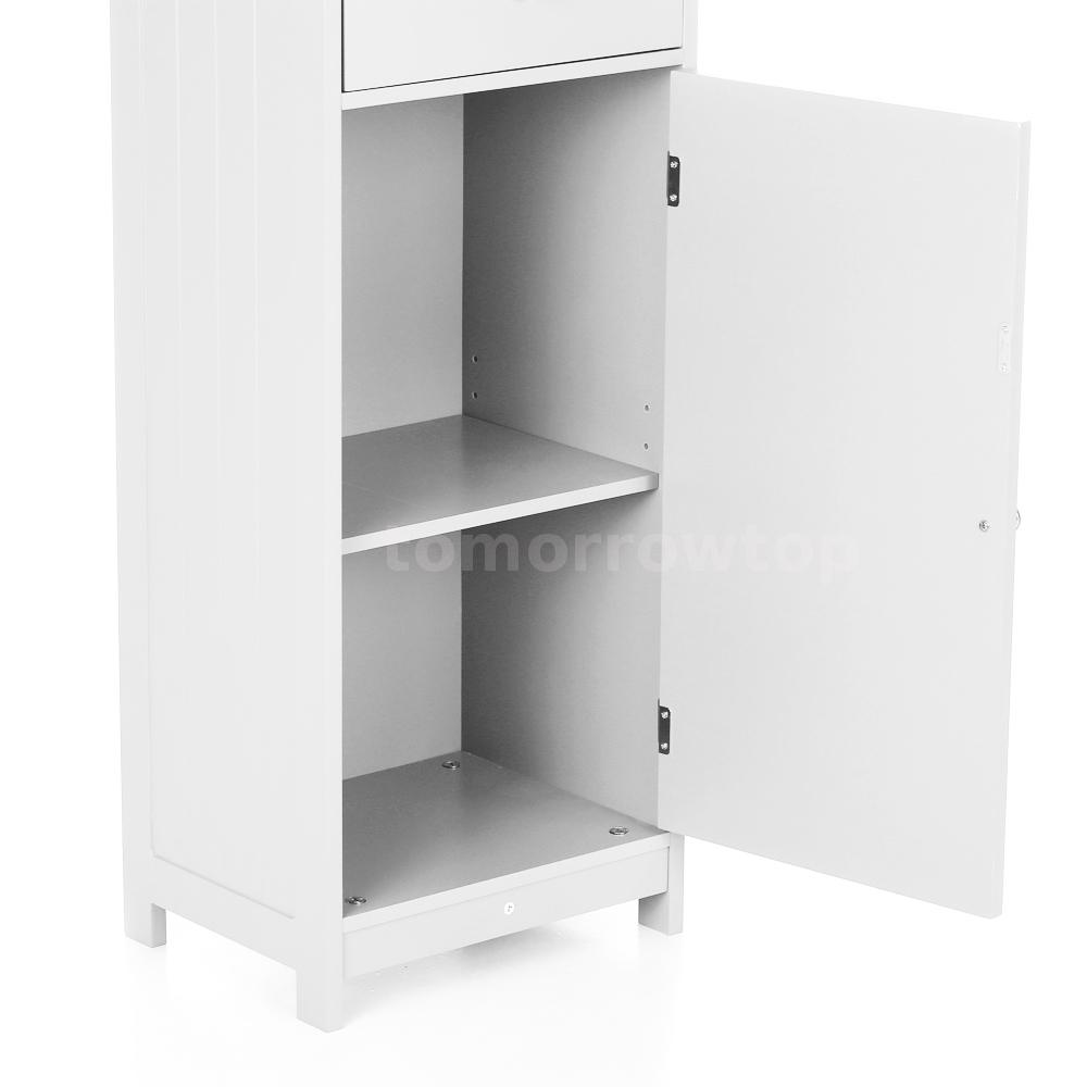 Bathroom Cabinet Storage Organizer Tall Tower with Doors & Drawer ...