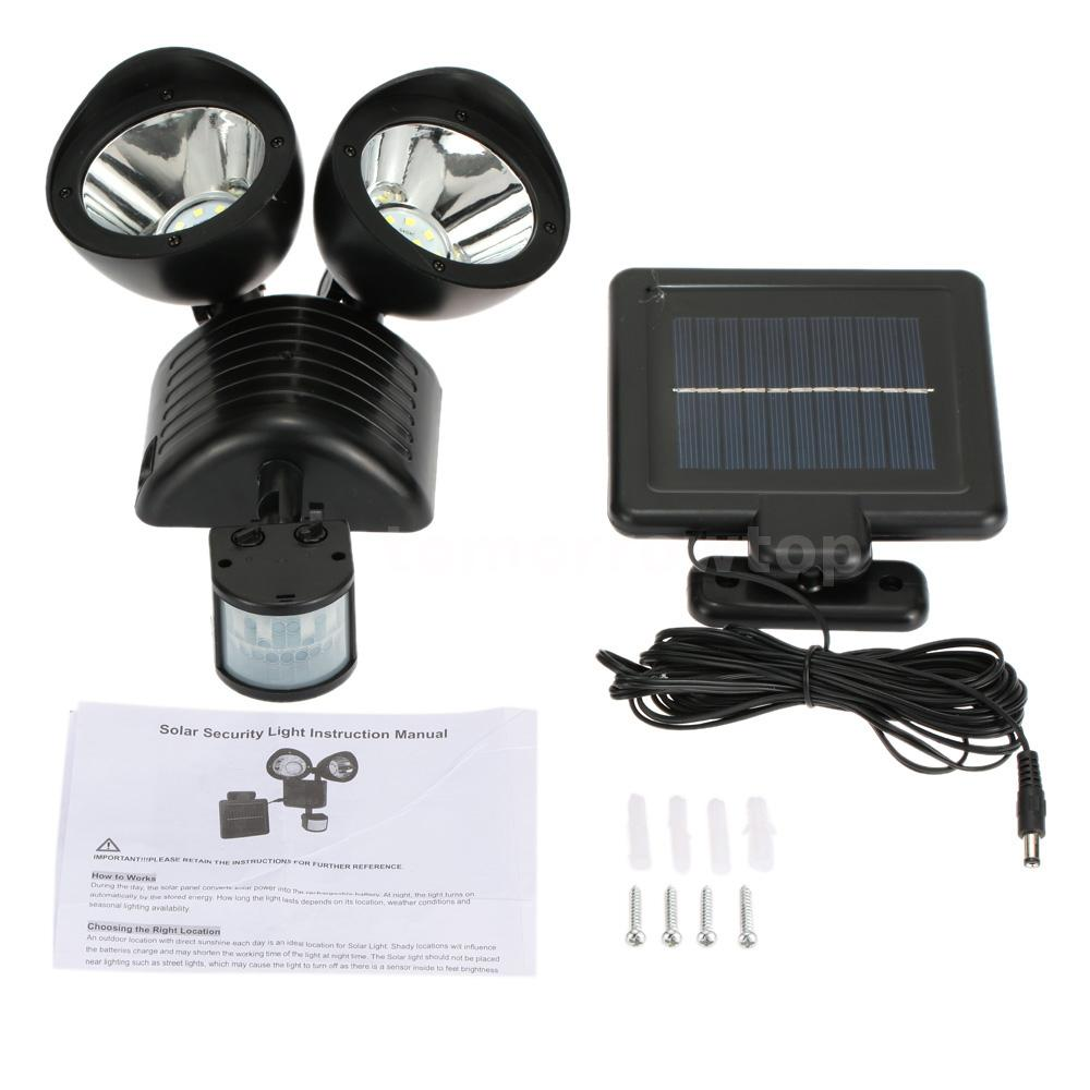 Solar Wall Mounted Lamp With Motion Detector : Solar 22LEDs Wall Mount Light Garden PIR Motion Sensor Double Dural Heads G6U3 eBay