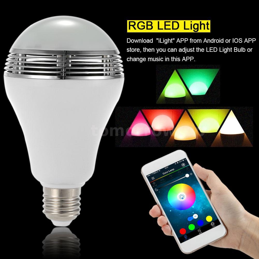 e27 led rgb color bulb light lamp bluetooth speaker smart app music player l4. Black Bedroom Furniture Sets. Home Design Ideas
