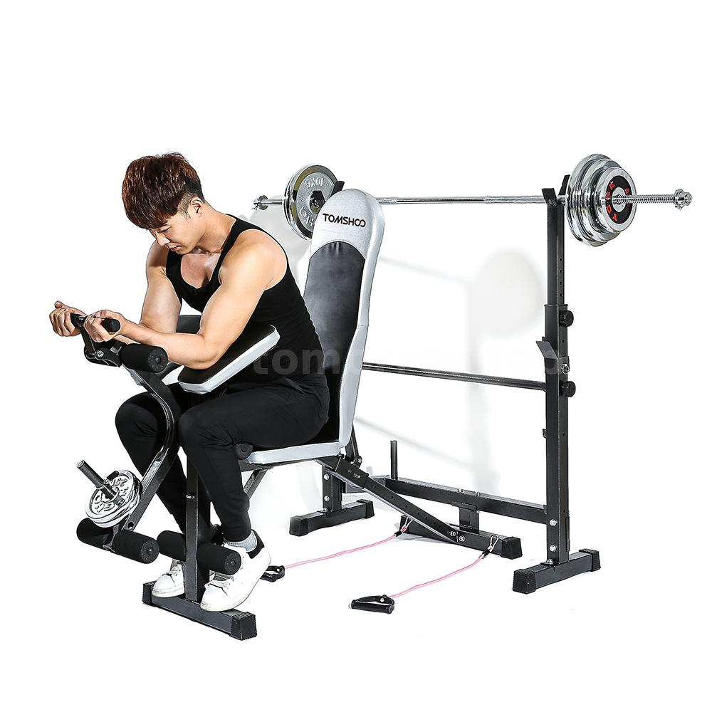 Weights Bench Multi Home Gym Equipment Dumbell Workout Abs: TOMSHOO Fitness Exercise Adjustable Bench Weight Lifting